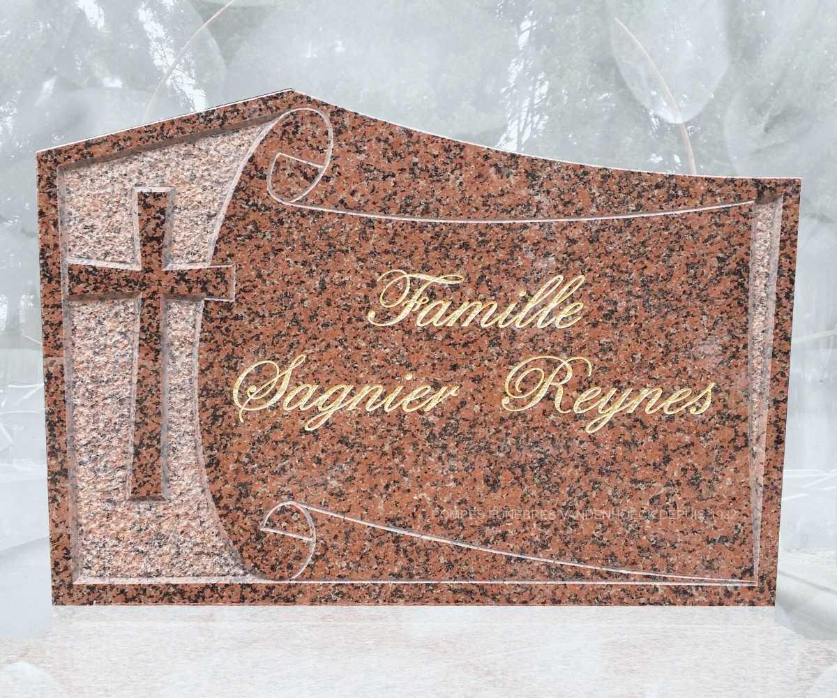 Stèle granit rose clarté motif gravé main