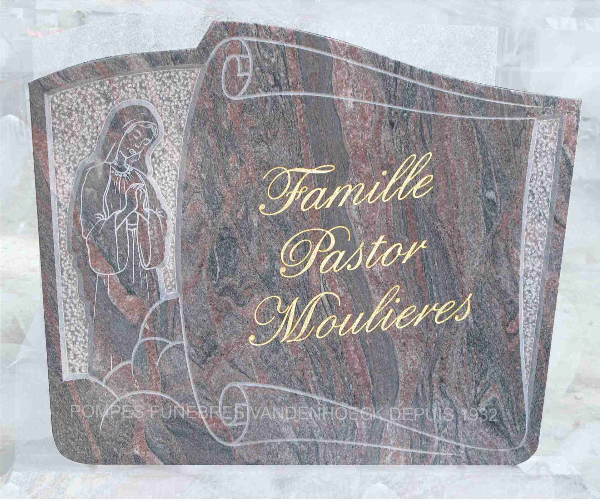 stèle rose tiffany parchemin gravé main adissan