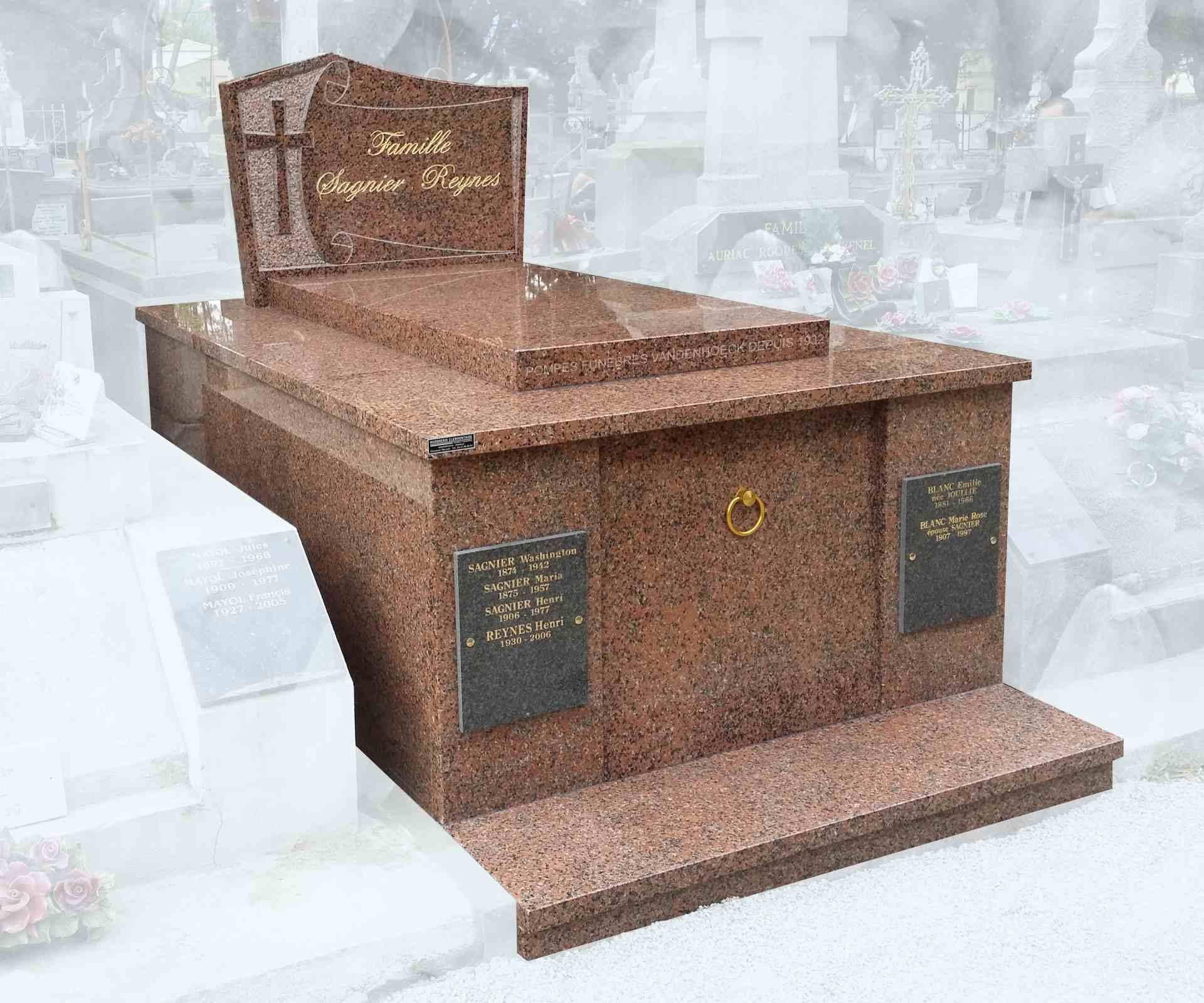 monument funéraire en granit ROSE CLARTE