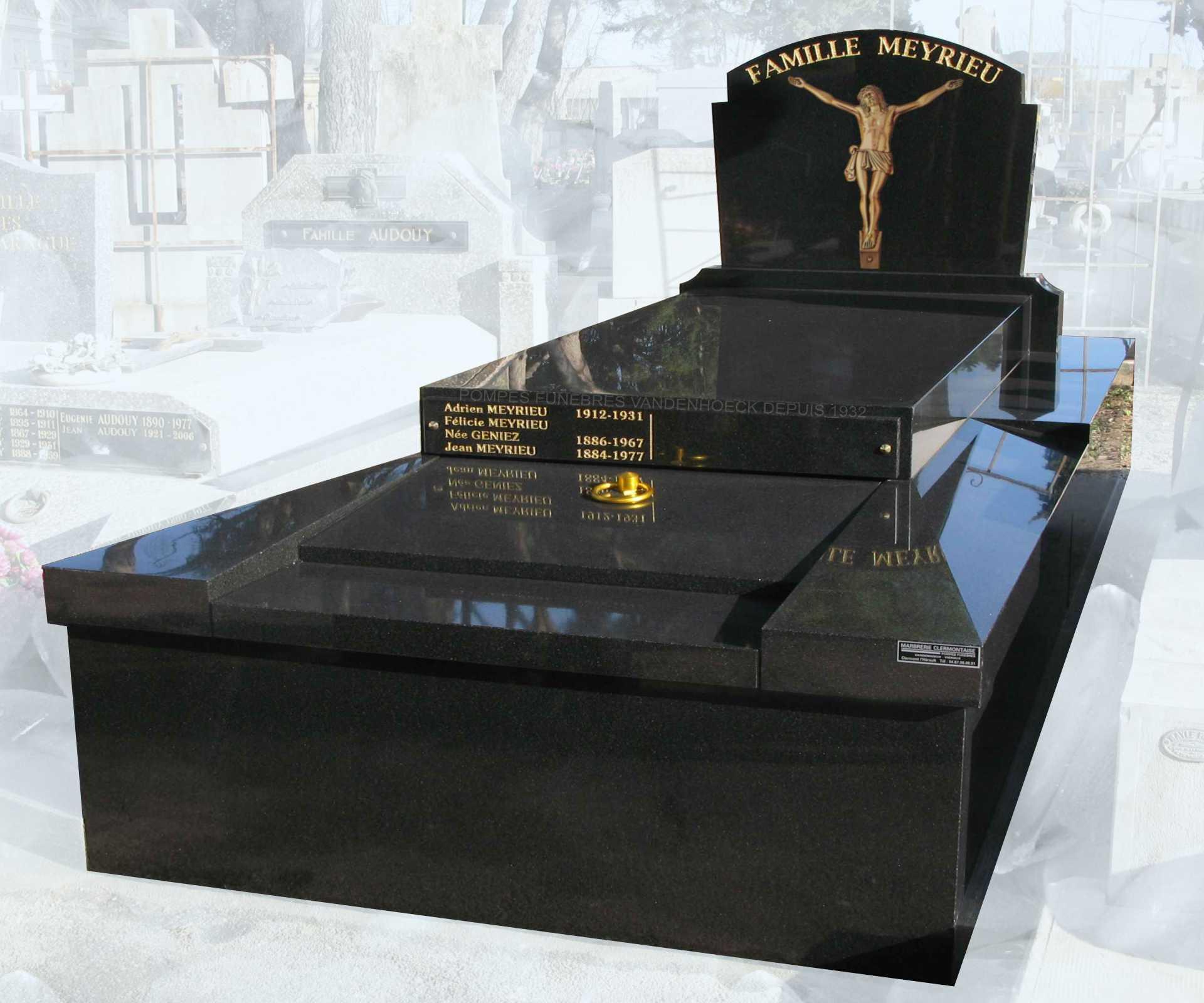monument funéraire en granit NOIR ROYAL